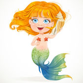 Little red-haired girl mermaid hears sounds in shell — Stock Vector