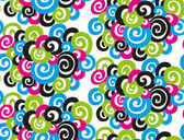 Seamless abstract pattern of colored curls on a white background — Stock Vector