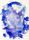 Blue gouache grunge impression and turn colors — Stock Photo