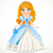 Beautiful red-haired princess in blue ball gown and tiara — Stock Vector #22286231