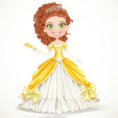 Beautiful princess in a yellow ball dress with a fan in his hand — Stock Vector