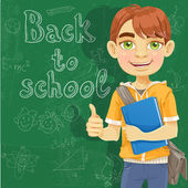 Teenage boy with a textbook near blackboard shows ok — Stock Vector