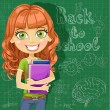 Back to school - cute teenager girl at the blackboard — Stock Vector