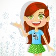 Cute girl of school-age tells the story — Imagen vectorial
