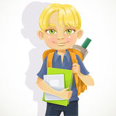 Cute schoolboy with textbooks and notebooks backpack — Stock Vector