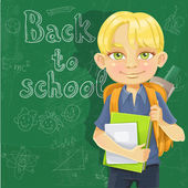 Cute schoolboy with textbooks and notebooks backpack near blackboard — Stock Vector