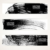 Abstract black and white brush texture handdrawing banner set — Stock Vector