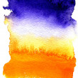 Beautiful wet watercolor background stretching from dark blue to orange — Stock Photo