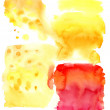 Stretching wet watercolor from yellow to orange and red — Stock Photo