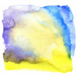 Wet violet, blue and yellow watercolor background — Stock Photo