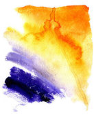 Beautiful wet watercolor orange and violet streaks background — Stock Photo
