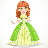 Beautiful princess with brown hair in a green dress — Stock Vector