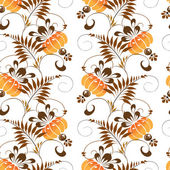 Beautiful seamless pattern of stylized ethnic painting orange flowers — Stock Vector