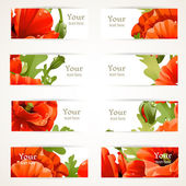 Set of banners with fragments of red poppies — Stock Vector