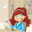 Cute girl in office takes your orders over the phone — Image vectorielle