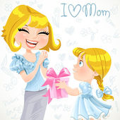Daughter gives mom a gift for Mother's Day on doodle background — Stock Vector
