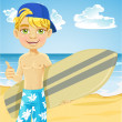 Cute teen boy with a surfboard on a sunny beach — Stock Vector