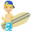 Cute teen boy with a surfboard isolated on a white background — Stock Vector