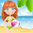 Young girl in a bathing suit with an inflatable ball on sunny beach — Stock Vector #24121735