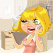 Cute girl on work in office swears by phone — Stock Vector