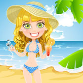 Cute girl on the beach with a cocktail and sunglasses — Stock Vector
