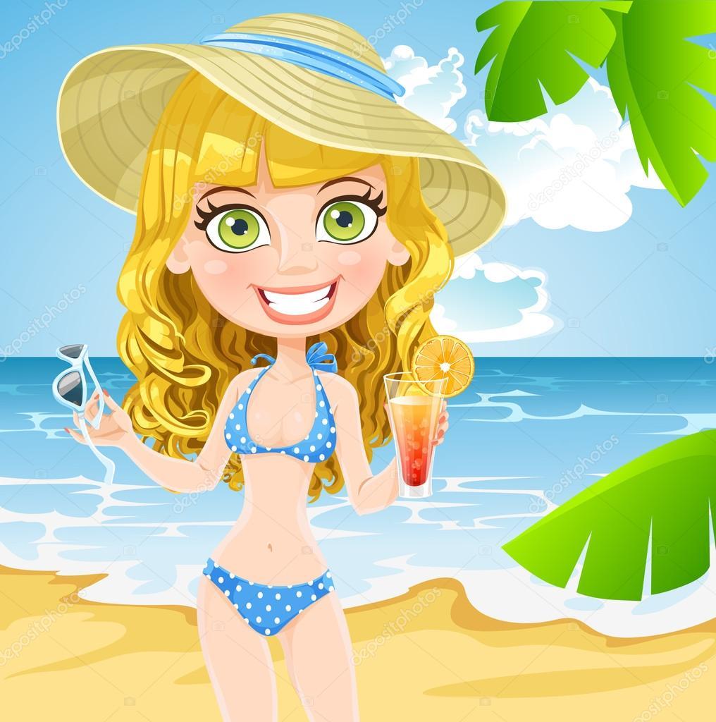 рисунок девушка на пляже: