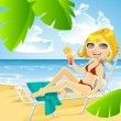 Cute girl lying on a sun lounger on the beach with a cocktail — Stock Vector