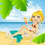Cute girl lying on a sun lounger on the beach with a cocktail — Stock Vector #24904427