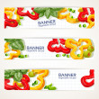 Vector horizontal banners with sweet peppers and basil — Stock Vector