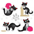 Playful funny black cats in different situations isolated on white background — Stock Vector