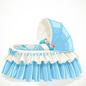 Baby in blue cradle isolated on white background — Stock Vector