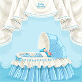 Blue baby shower card with cute little baby in the crib — Stock Vector