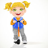 Little girl with pigtails on scooter isolated on a white background — Stock Vector