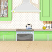 Interior of kitchen with stove and cupboards — Stock Vector