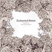 Frame for text decoration Enchanted Forest — Vettoriale Stock