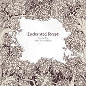 Marco de texto decoración bosque encantado — Vector de stock
