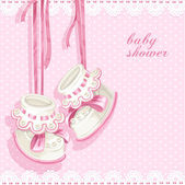 Baby shower card with pink booties and lace — Stock Vector