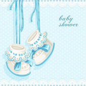Baby shower card with blue booties and lace — Stock Vector