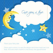 Card with moon and stars background for your tales or congratulation — Vector de stock
