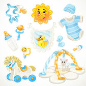 Set of blue baby toys objects clothes and things — Stock Vector
