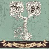 神奇的 grunge 森林手绘的复古字体-y — 图库矢量图片