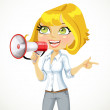 Cute girl talking into a megaphone and shows her hand in the d — Stock Vector