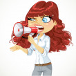Cute curly-haired girl cries or protests through a megaphone iso — Stock Vector