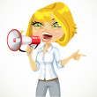 Cute girl emotionally shouts in a megaphone and shows his hand i — Stock Vector