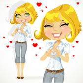 Cute blond girl folded heart out of the hands — Stock Vector