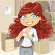 Cute girl clasped hands in the heart of the office — Imagen vectorial