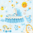 Seamless pattern of cribs, toys and stuff it's a boy on blue bac — Stock Vector
