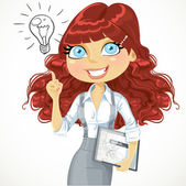 Cute brown curly hair girl with a electronic tablet idea inspira — Stock Vector
