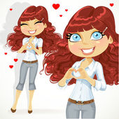 Cute girl folded heart out of the hands — Vector de stock