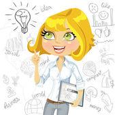 Dívka s myšlenkou inspirace elektronický tablet na podnikání čmáranice — Stock vektor